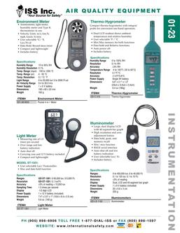 Catalogue: International Safety Systems Inc. Air Quality Equipment
