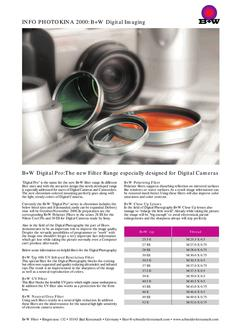 B+W Digital Pro The new Filter Range especially designed for Digital Cameras