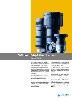 C-Mount lenses of the standard and 3-CCD series