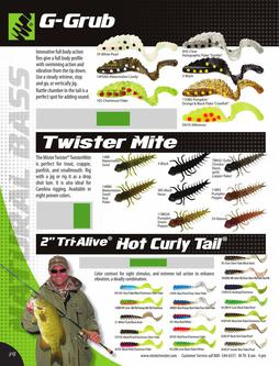 "G-Grub®, Twister Mite, 2"" Tri-Alive™ Hot Curly Tail® 2015"