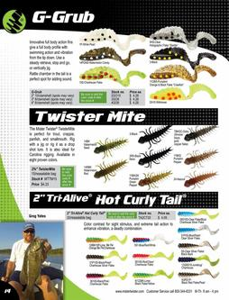 "G-Grub®, Twister Mite, 2"" Tri-Alive™ Hot Curly Tail® 2017"