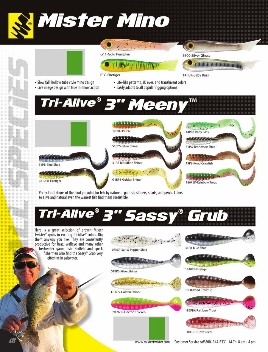 "Rainbow Trout Mister Twister Sassy Grub 3/"" 10 Per Bag"