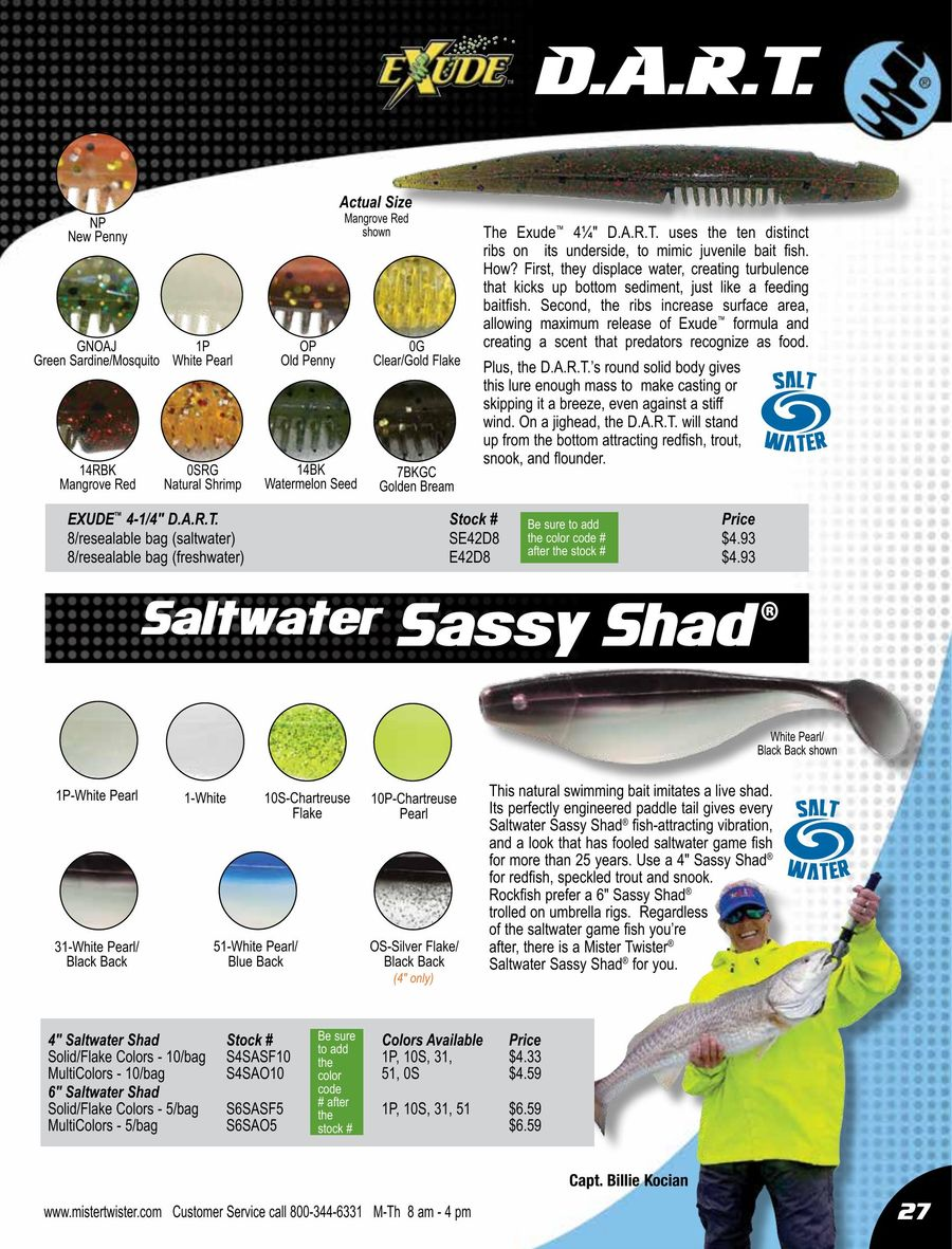 5-Inch SERTS8-7BKGC NEW Golden Bream Mister Twister Saltwater Exude RT Slug