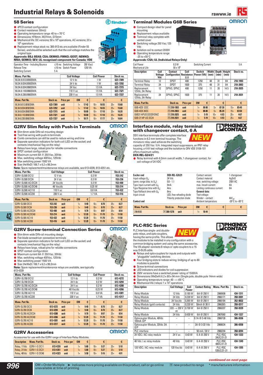 Page 22 Of Industrial Relays Solenoids 2012 Relay Coil Voltage P 62
