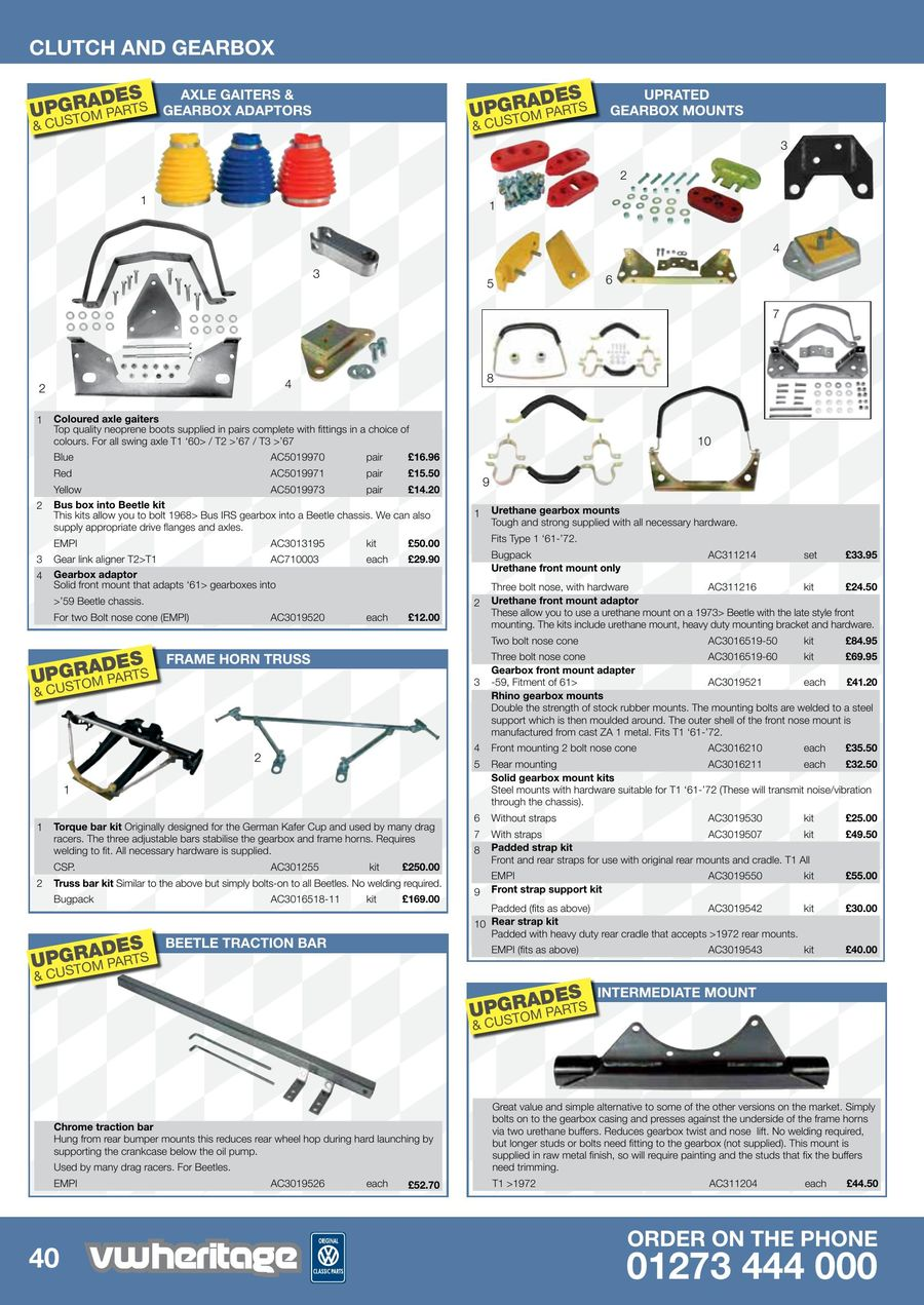BEETLE Rhino rear gearbox mounts pair AC3016211