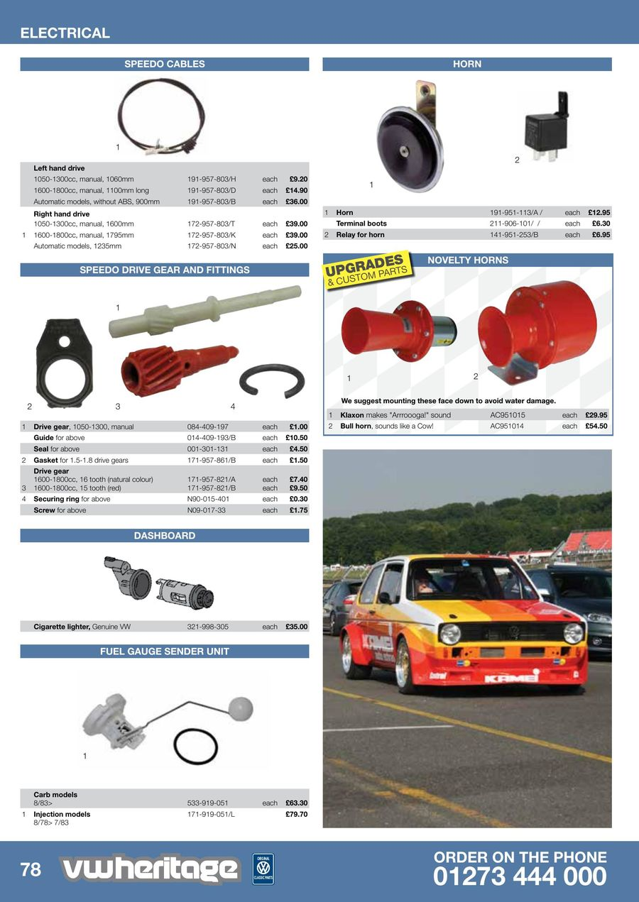Page 36 of Golf - MK1 Parts Catalogue Part 2 2015 Horns For Golf Carts Manual on horn for atv, horn for car, horn for utv,