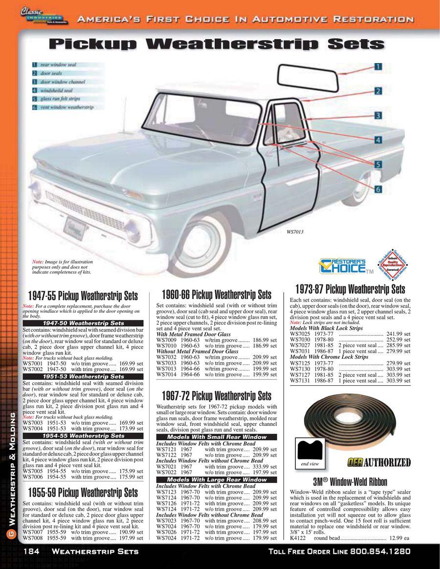 LH New 1947-50 Chevrolet Pickup Door Window Glass Chrome w// Trim