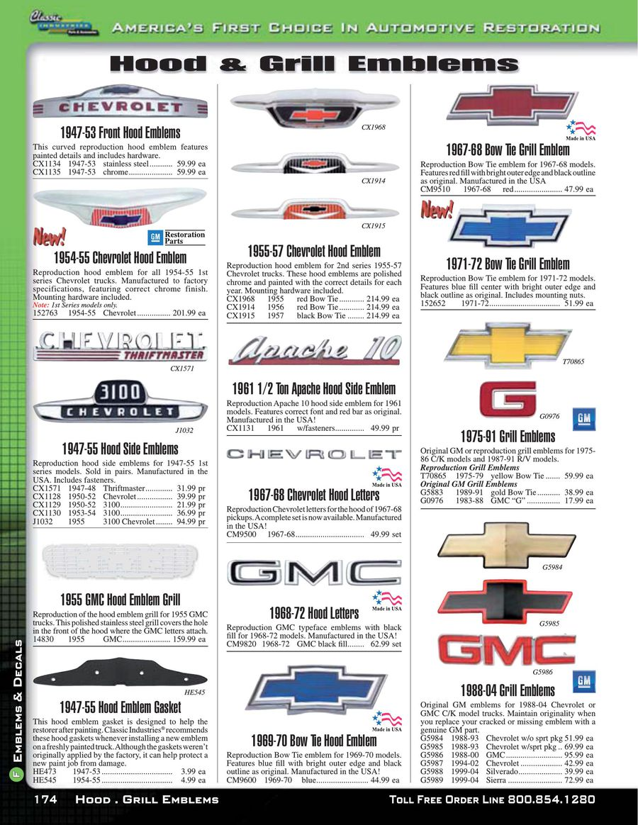 Chevy Gmc Truck Emblems Decals 2015 By Classic Industries