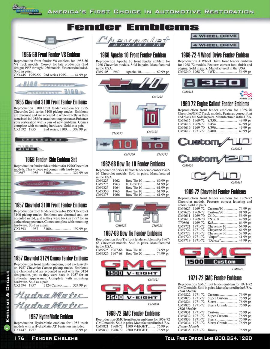 Chevy & GMC Truck Emblems & Decals 2015 by Classic Industries