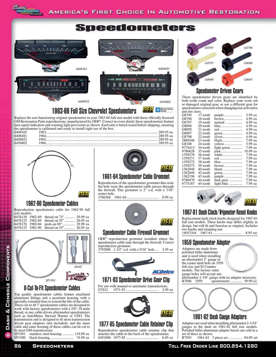 Impala / Fullsize Dash Components 2015 by Classic Industries