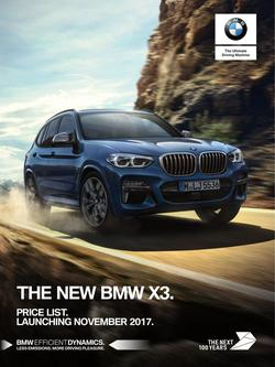 The new BMW X3 Price List September 2017