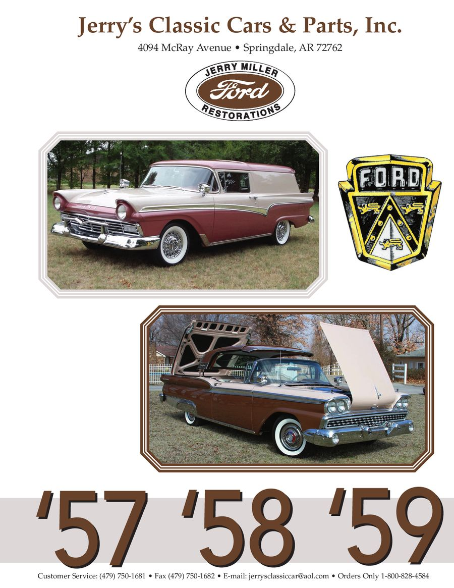 57 58 59 Ford Restoration Parts 2012 by Jerrys Classic Cars & Parts