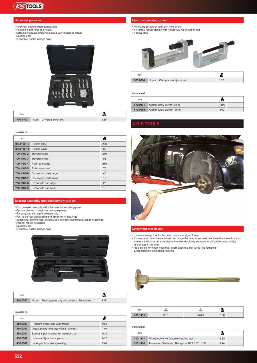 4 pcs KS Tools 700.1180  Mechanical nut splitter set