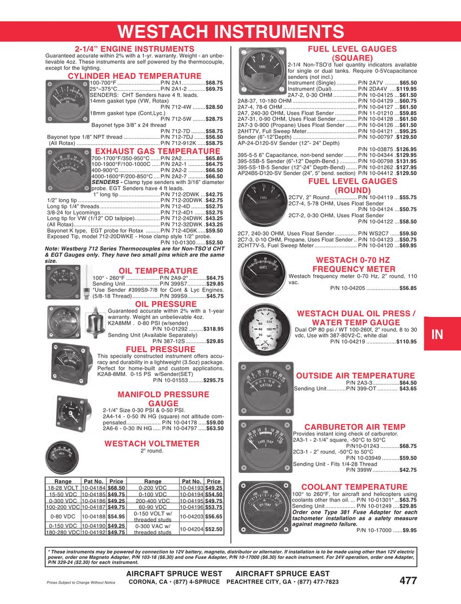 Page 474 Of 2012 2013 Aircraft Spruce Westach Tachometer Wiring P 929