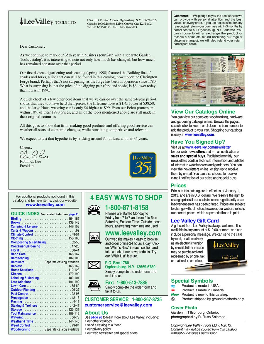 Gardening Tools 2013 2014 Annual Catalog By Lee Valley Tools