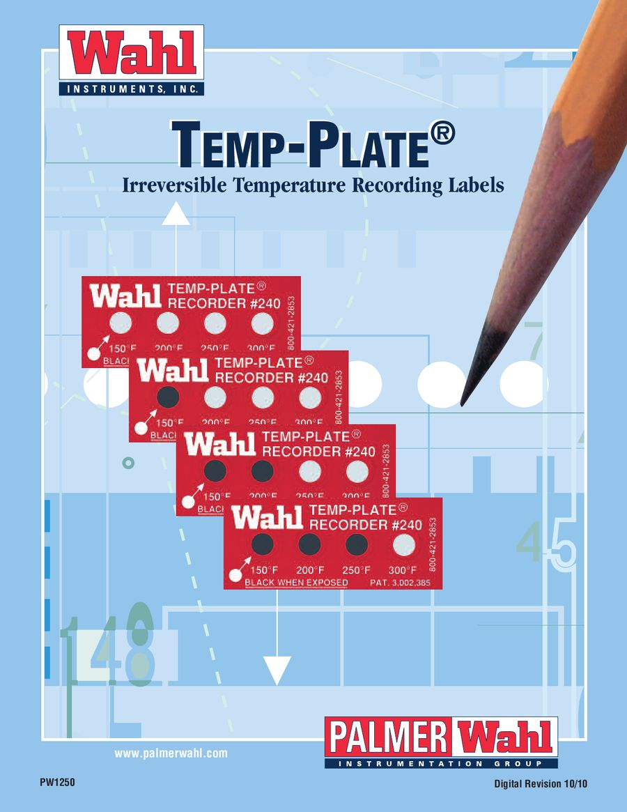 500 degrees F and 260 degrees C Pack of 20 Wahl Instruments 414-500F-260C Round Single Position Temp-Plate
