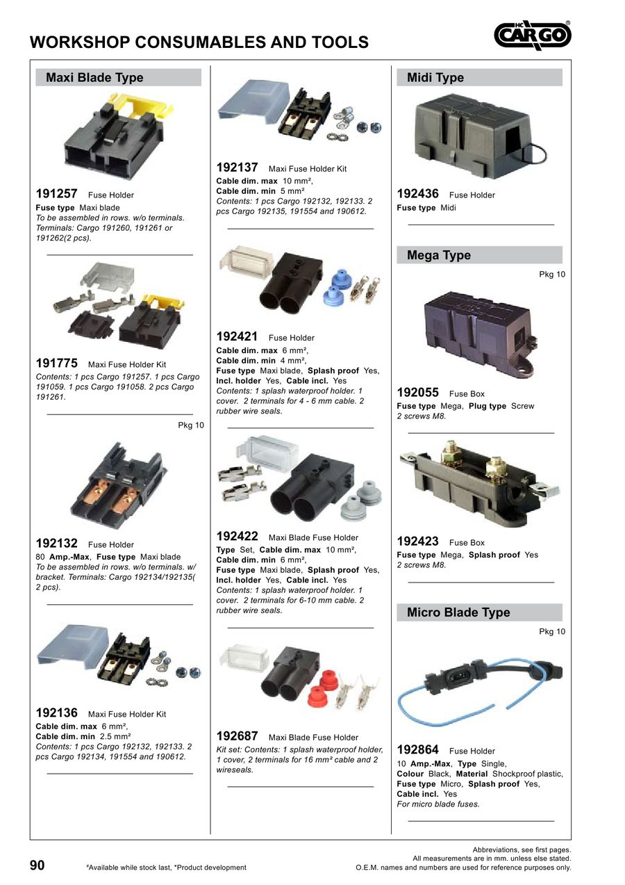 Page 91 Of Workshop Consumables And Tools 2012 Waterproof Maxi Fuse Block Wiring P 241
