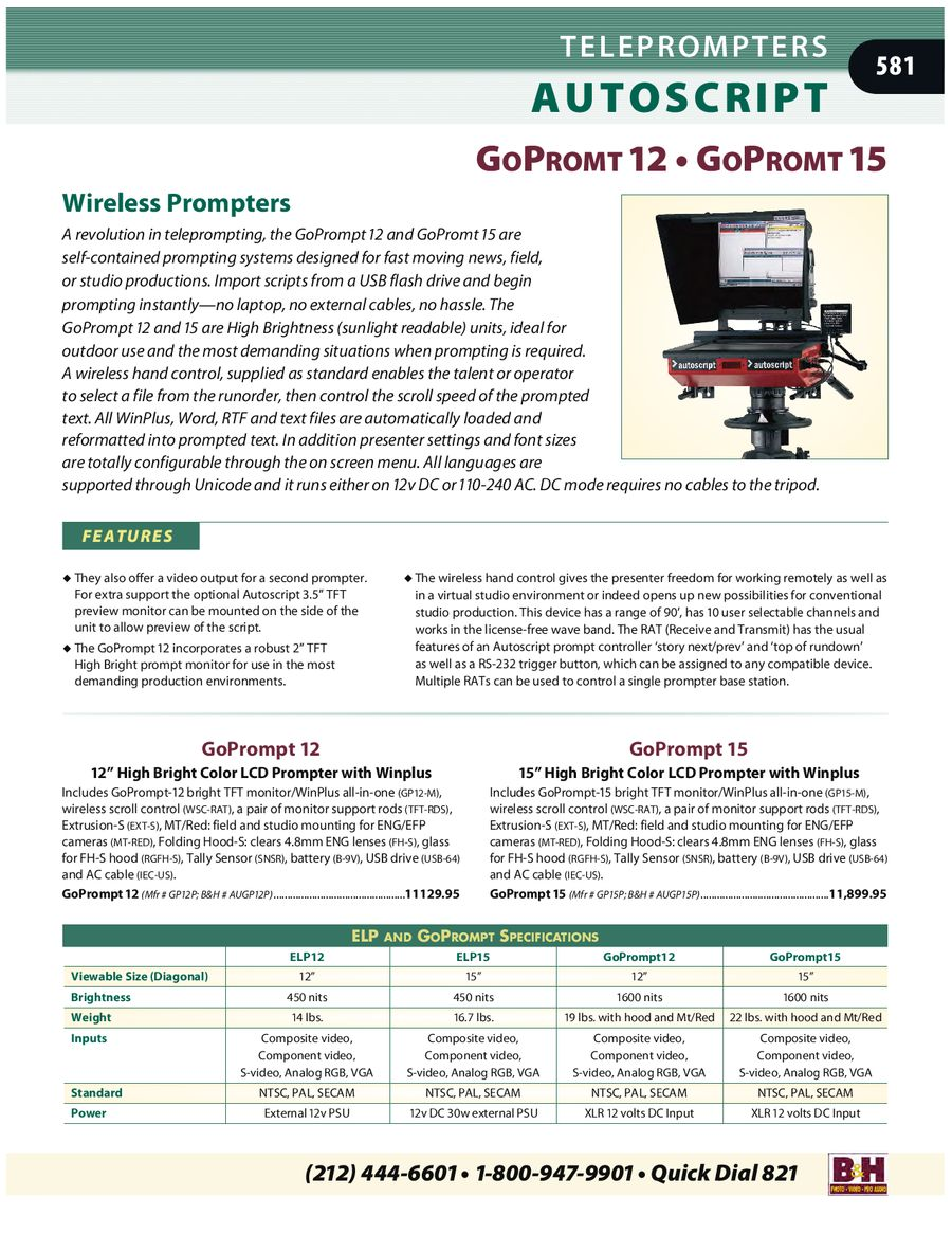 Teleprompters 2007 by B & H Foto & Electronics