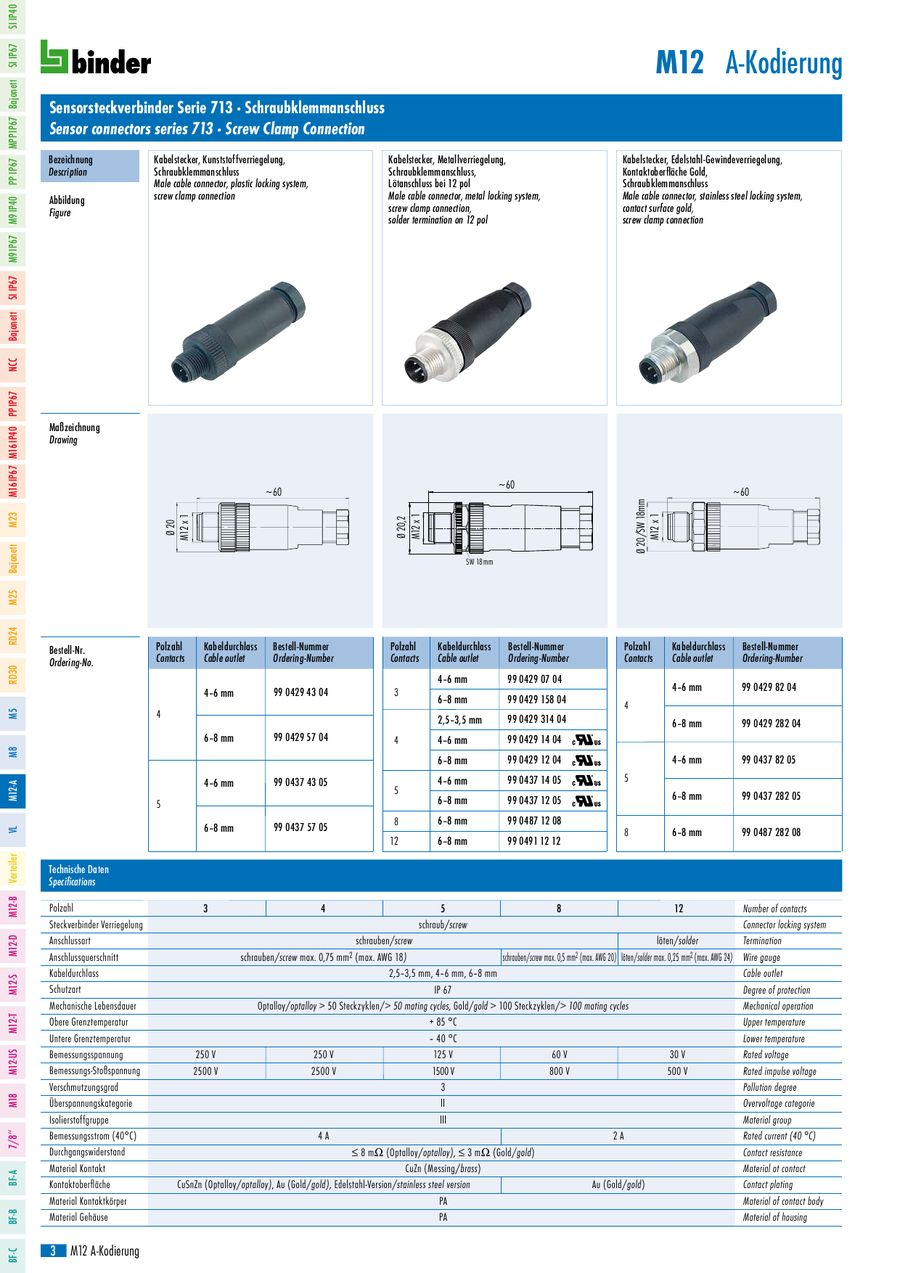 M12 connectors A-coded serie 713 and 763 2013 by Binder Connector