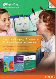 Speech and Language Assessments 2013