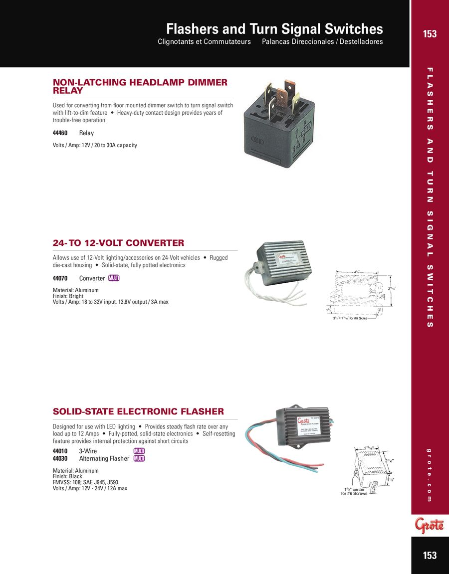 Flashers and Turn Signal Switches 2012 by Grote Industries on fog light relay switch wiring diagram, universal turn signal wiring diagram, basic turn signal wiring diagram,