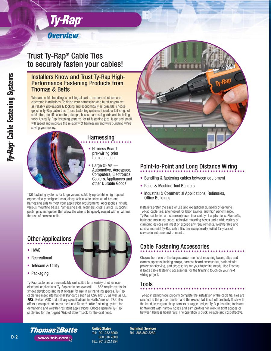 Page 2 Of Ty Rap Cable Fastening Systems Aerospace Wire Harness Ties By Thomas Betts