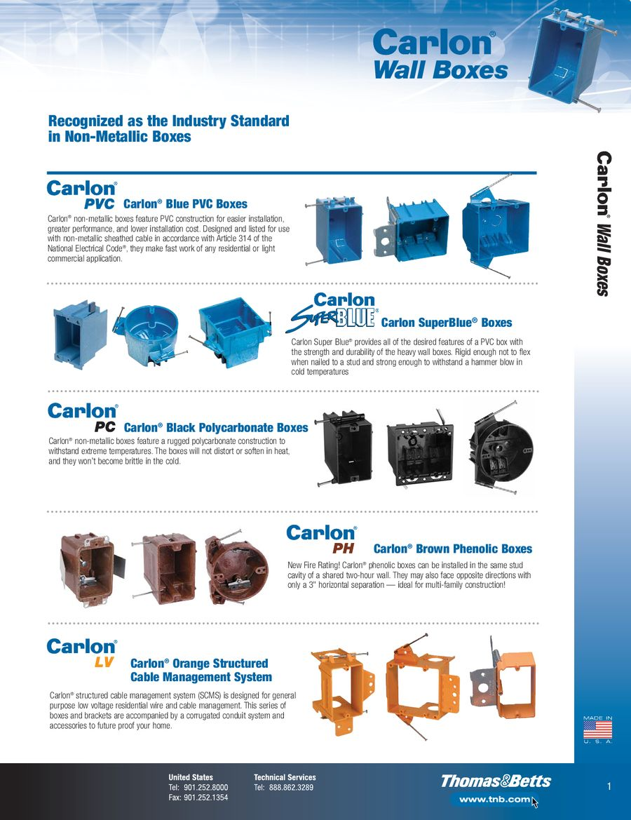 Carlon Non Metallic Boxes By Thomas Betts Use Larger Pvc Conduit And Electrical Install 3 4 In