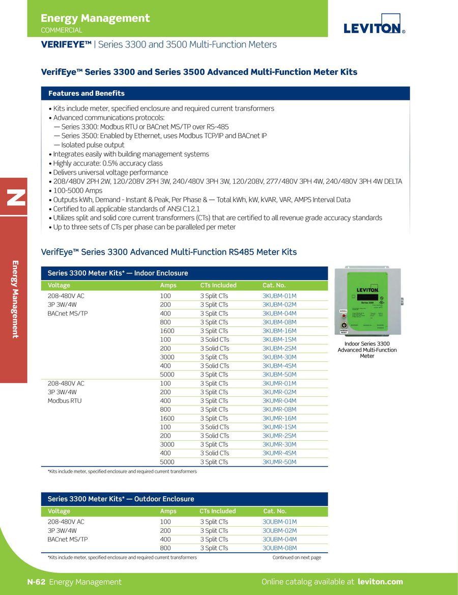 Leviton 3KUMT-30M VerifEye Series 3500 Modbus TCP//BACnet IP Indoor Meter Kit with 3 Split Core CTs 3000-Amp