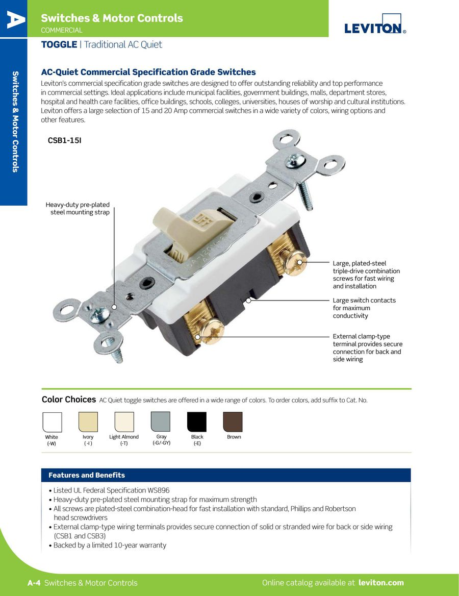 L 300 Switches Motor Controls 2015 By Leviton Manufacturing Commercial Single Pole Toggle Switch P 1 34