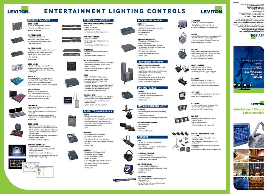 Entertainment Fixtures Selection Guide and Line Card 2015 by Leviton ...