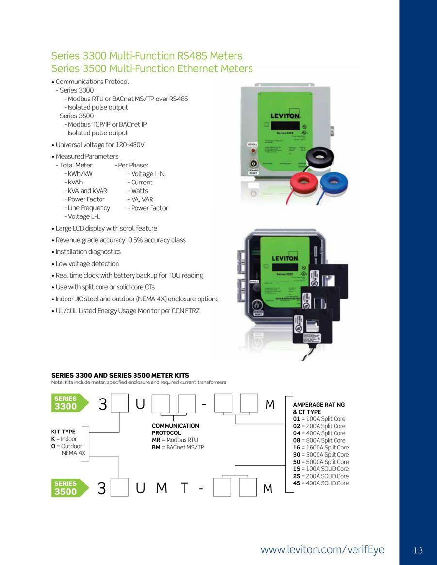 800-Amp Leviton VerifEye Series 3300 Modbus RTU Indoor Meter Kit with 3 Split Core CTs