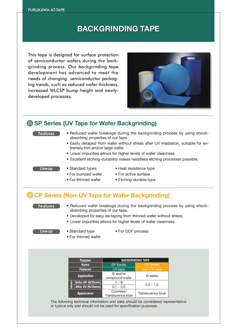 UV Tapes for Semiconductor Process 2011 by Furukawa Electric