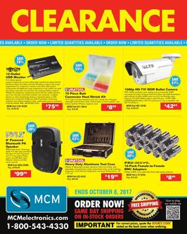 Clearance  Ends October 8, 2017