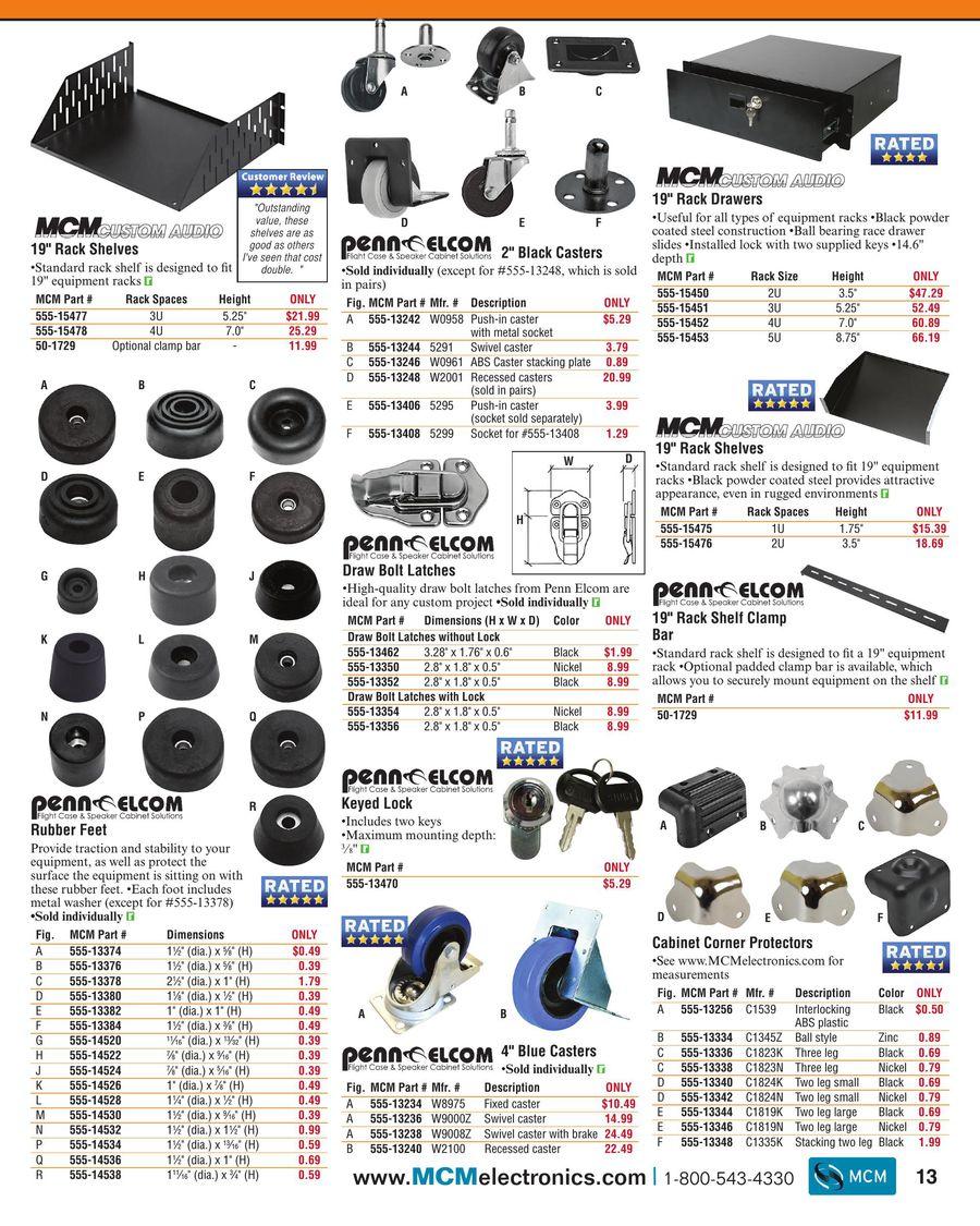 """MCM Custom Audio 555-15460 1U Studio Black Vented Panel 19/"""" Steel Rack"""