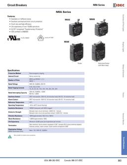 NRA Panel Mount Series Circuit Breakers 2013