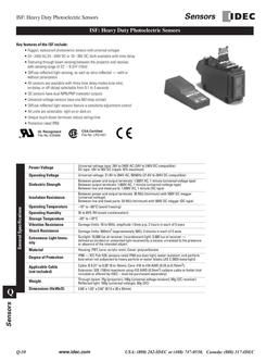ISF Series Heavy Duty Photoelectric Sensors 2013