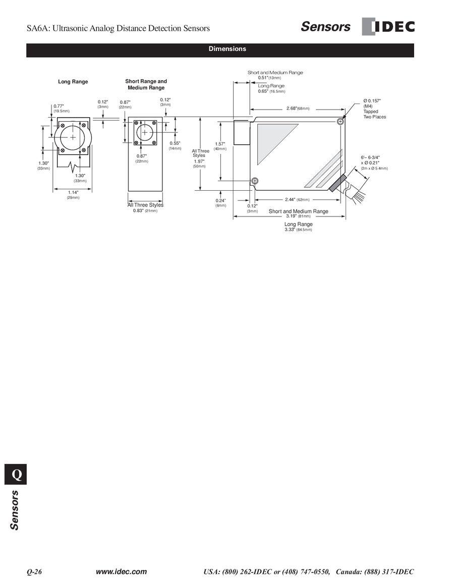 Sa6a Series Ultrasonic Analog Sensors 2013 By Idec Canada Proximity Sensor In Addition Pnp Npn Diagram On Inductive