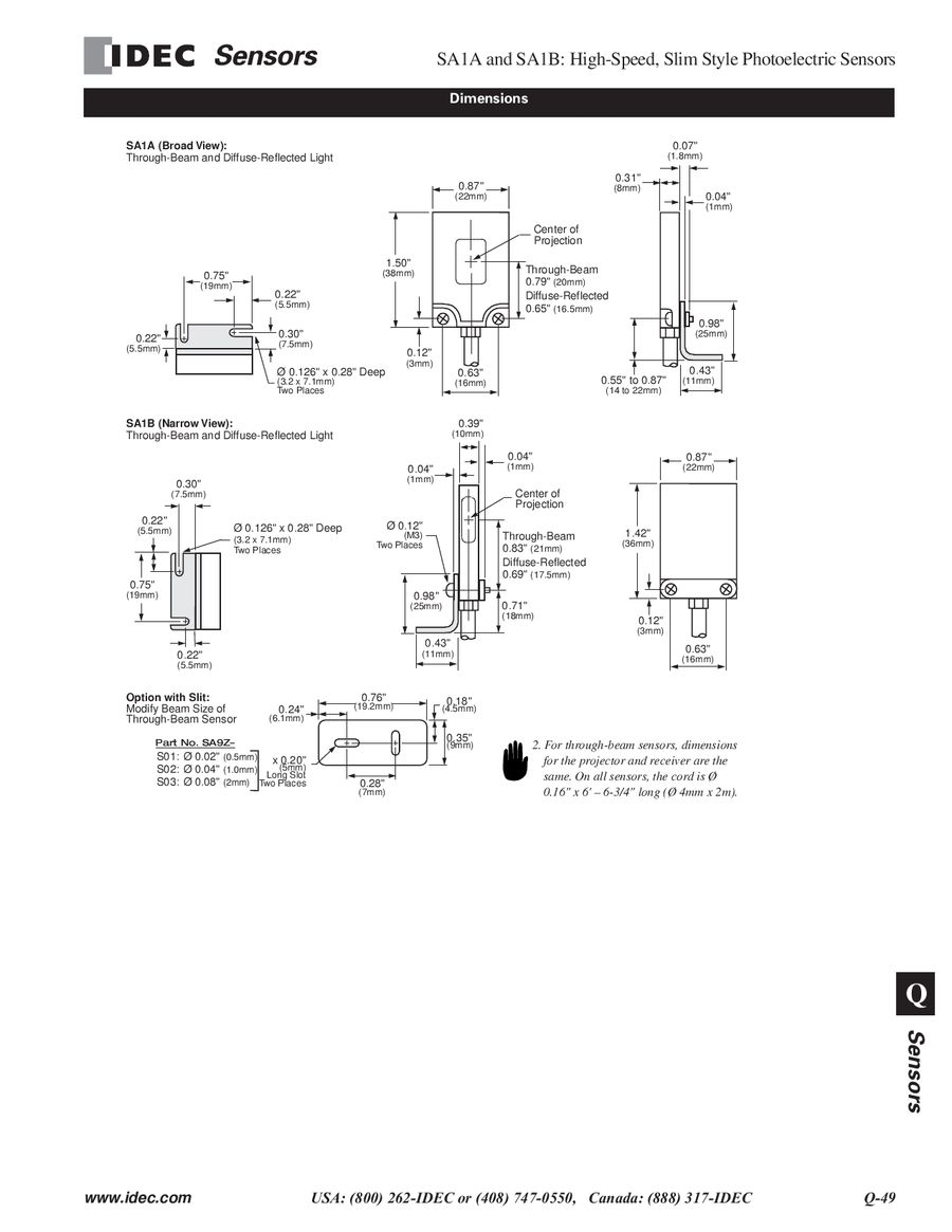 Sa1a Sa1b Series Slim Style Photoelectric Sensors 2013 By Idec Canada Wiring Diagram As Well Npn And Pnp Transistor On Prox
