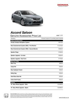 Honda Accord Saloon Accessory Price List 2013