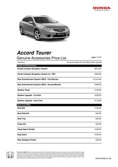 Honda Accord Tourer Genuine Accessories Price List 2013