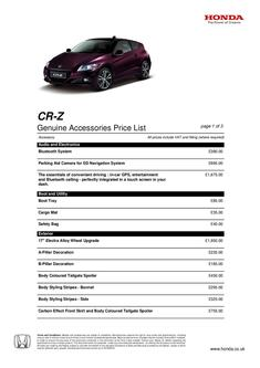 Honda CR-Z Accessories 2013