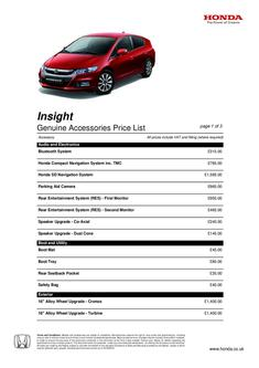 Honda Insight Accessories Price List 2013