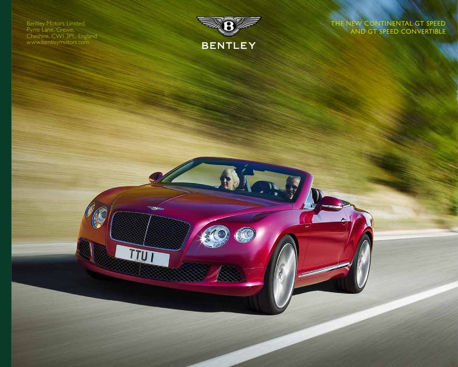 """BENTLEY /""""THE NEW CONTINENTAL GT SPEED AND GT SPEED CONVERTIBLE/"""" DEALER BOOK"""