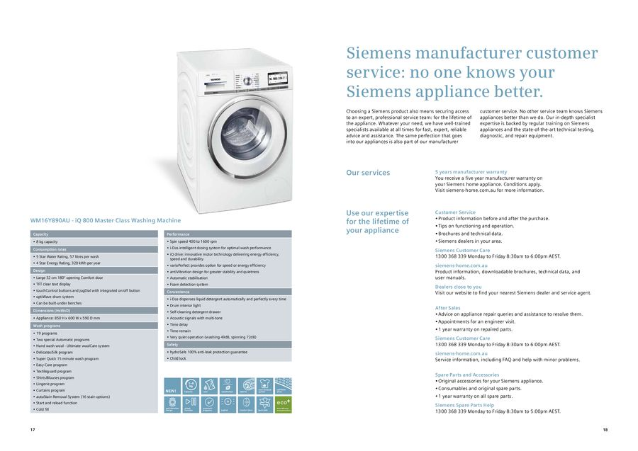 Page 10 of Siemens i-Dos washing machine and Energy Efficient dryer 2013