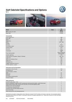 Golf Cabriolet Specifications and Options  MY14