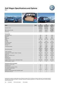 Golf Wagon Specifications and Options  MY14