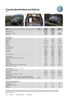 Touareg Specifications and Options  MY14