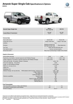 Amarok Super Single Cab Specifications & Options MY2013