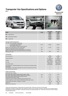 Transporter Van Specifications and Options MY14