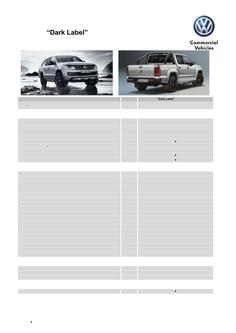 Amarok Dark Label Specifications and Options MY15